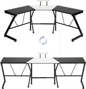 L shaped two person desk